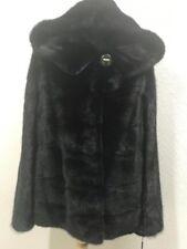 Vison noir RETOURNES fur coat veste S M Fourrure Véritable Qualité Premium RRP £ 3000