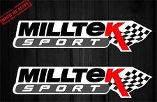 2x Milltek Sport Aufkleber Sticker Vinyl Emblem Logo Set Golf Passat Polo..Weiss