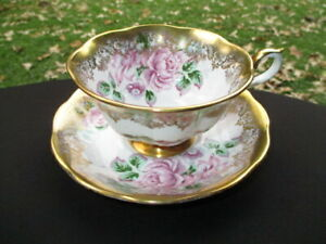CUP SAUCER ROYAL ALBERT PORTRAIT PINK FLOATING CABBAGE ROSE & FIELD HEAVY GOLD