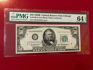 $50 1950B FEDERAL RESERVE NOTE CHICAGO FR#2109-G PRIEST ANDERSON PMG 64 EPQ