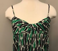 Diane Von Furstenberg Navy, White and Green Silk Shift Print Dress, Size 8
