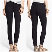 Free People Skinny Solid Black Mid Rise Jeans Size 27R Ankle Zip Button Closure