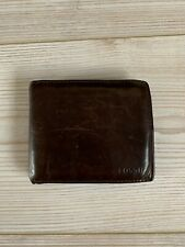 Men's Dark Brown Leather Fossil Wallet | Cow Hide Vintage Distressed Coin Pouch