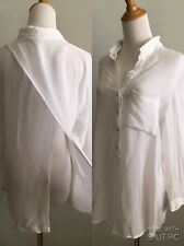 HELMUT LANG WOMENS L LARGE WHITE SHEER CUT OUT BACK LONG SLEEVE BUTTON SHIRT B20