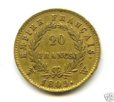 NAPOLEON Ier (1804-1814) 20 FRANCS OR GOLD 1809 W LILLE RARE