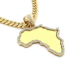 "Mens Gold Africa Mirror Cz Pendant Hip-Hop 30"" 10mm Fat Cuban Necklace Chain M6"