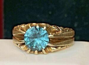 VINTAGE 10K GOLD BLUE ZIRCON RING BAND BELCHER SETTING GEMSTONE SIGNED TCJI