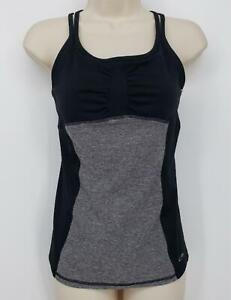 Champion Yoga Workout Top Self Bra Women's Size Medium Gray Black