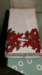 Ivory Hand Towel with Fall leaves and Crystals embellishment