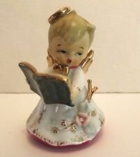 VINTAGE LEFTON CHRISTMAS ANGEL BELL HOLDING CHOIR BOOK GOLD ACCENTS