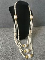 Vintage Cream Gold Tone Chunky Multi Strand Beaded Necklace Art Deco Style
