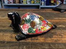 BRT Beautiful Indian Hand Crafted Decorative Hand Painted Wood Carved Turtle