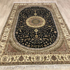 YILONG 6'x9' Blue Hand Knotted Area Rugs Home Decor Oriental Silk Carpets 486C