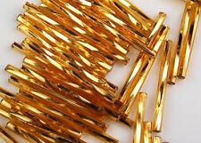 30mm Twisted Gold Bugle Loose Glass Beads 100pcs Jewelry Making Craft
