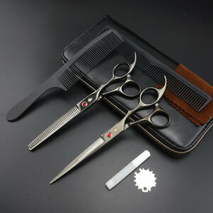 7 inch Professional Hairdressing Scissors Barbers Cutting+Thinning Shears sets