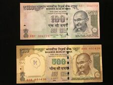 INDIA one & five hundred Rupee collection Banknote lot 100 & 500  rupee  Nice