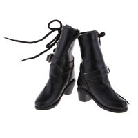 1/6 Girl Doll Black PU High Heel Shoes Boots for 12'' Hot Toys Action Figure