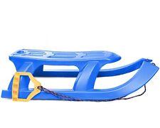 Ondis24 Schlitten mit Metallkufen & Zugseil Bob für Kinder blau Rodel Rennrodel