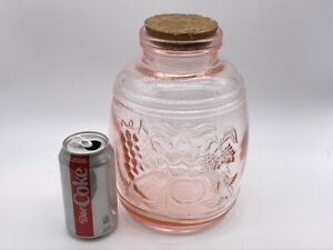4 Qt BARIL DE FRUITS Pin Glass Cookie Biscuit Jar Canister 1 Gallon Cork Top