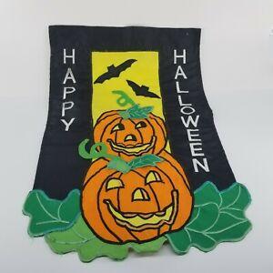 HAPPY HALLOWEEN Flag Jack O Lantern PUMPKIN Applique Mini Window Garden Yard