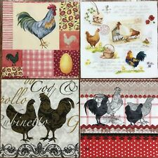 set of 4 DESIGNS PAPER NAPKINS COLLECTION for DECOUPAGE crafts chicken rooster