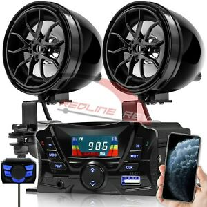 Bluetooth Motorcycle ATV 4 Wheeler Audio Stereo Speakers System AUX FM Radio USB