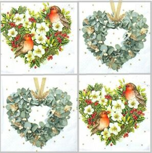 4 Different Vintage Table Paper Napkins for Party Lunch Decoupage Wreath, Heart