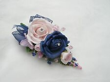 Wedding flower buttonhole navy blue & pink double rose.......PIN ON