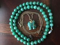 "Vintage 23""natural green jade beads necklace and jade&gold elephant pendant"