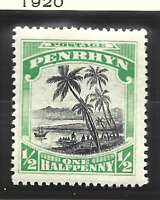 Penrhyn Island Stamp Scott #25, Used Lightly Hinged