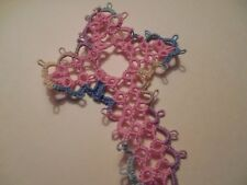 Tatted Cross Bookmark Br. Pink & Pastel Get Well Gift Bible Tatting Dove Country