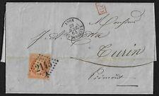 FRANCE 1864 LYON LES TERREAX TYING 40c NAPOLEON TO TORIN PIEDMONT 3 PAGE FOLDED