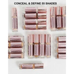 MAKEUP REVOLUTION CONCEAL & DEFINE Full Coverage CONCEALER & CONTOUR 55 Shades