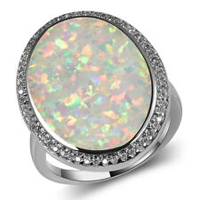 white Fire Opal Ring Silver Gold Filled  Engagement Wedding Ring Size 11 A184