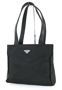 Authentic PRADA Black Nylon and Leather Tote Shoulder Bag Purse #39715B