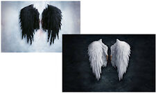 Pair of Large Framed Prints-Jet Black & Pure White Gothic Feather Angel Wings