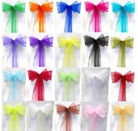 """Wedding Chair Sashes Organza Bow for Anniversary Party Dinning Tables 23"""" X 108"""""""