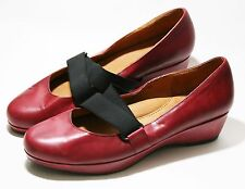 GENTLE SOULS SHOES SCENE IT MARY JANE WEDGE SLIP ON CHIANTI RED LEATHER 8.5