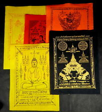 5 x MIXED LARGE 'A'  Buddhist PHA YANT TEMPLE 'WISHING'  CLOTH's  7 in  x 9.5 in