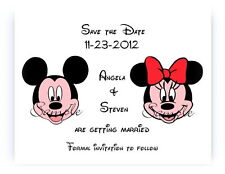 100 Personalized Disney Mickey and Minnie Face 2 Wedding Save The Date Cards