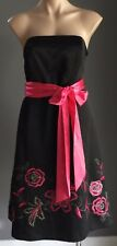 Pre-owned DEBUT Black Strapless Floral Embroidered Hem A-Line Dress Size 14