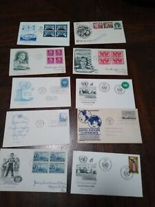 LOT OF 10 FIRST DAY ISSUE STAMPS + ENVELOPES 1945 - 1969