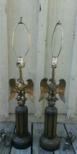 Mid Century Brass Eagle & Ceramic Lamp Pair Americana