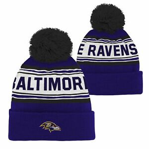 Outerstuff NFL Youth (8-18) Baltimore Ravens Jacquard Cuffed Knit Hat with Pom