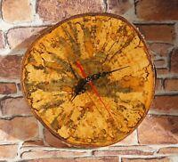 Unique Hand Made WALL CLOCK Carelian Birch TREE WOOD SLICE slab 28 cm 07