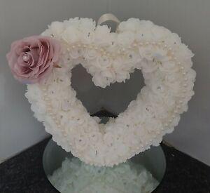 Foam Rose white  Handmade Heart  wreath 20 cm with diamante & pearl  detail