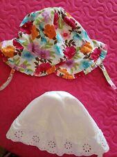 Baby Girls Sun Hats Gymboree Floral Sz 12-18 mos & Tcp white eyelet sz 6-12 mos.