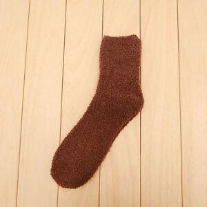 2 Pairs Mens Womens Solid Cashmere Sock Casual Warm Winter Floor Sleeping Socks