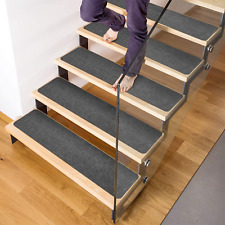 Set of 7 Non Slip Carpet Stair Treads Rug Non Skid Runner 6''x30'' Grey NEW