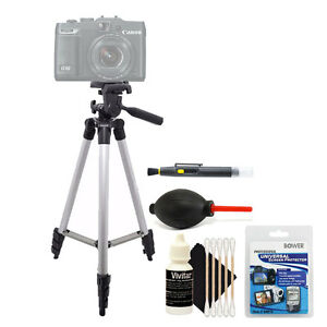 Tall Tripod + Cleaning Accessory Kit for Canon PowerShot G5X G3X
